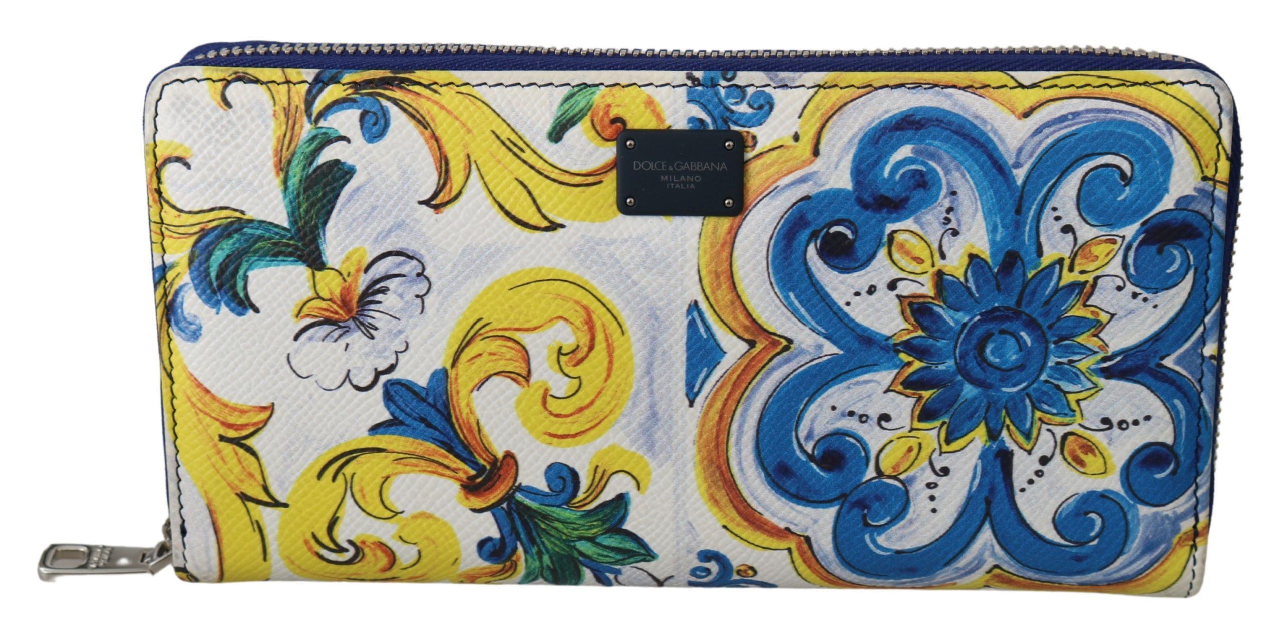 Dolce & Gabbana Men's Majolica Dauphine Leather Continental Wallet Multicolor VAS9708