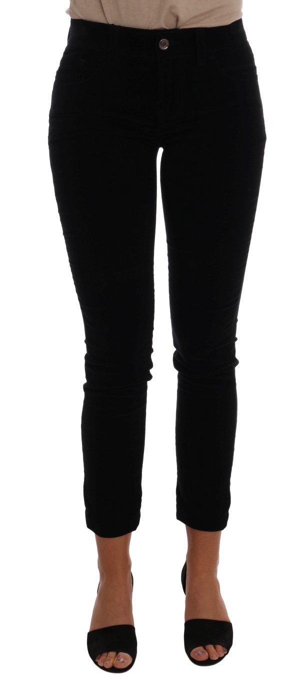 Dolce & Gabbana Women's Corduroy Cotton Stretch Jeans Black BYX1115 - IT36|XXS