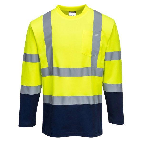 Portwest S280 T-shirt långärmad, Hi-Vis gul/marinblå S