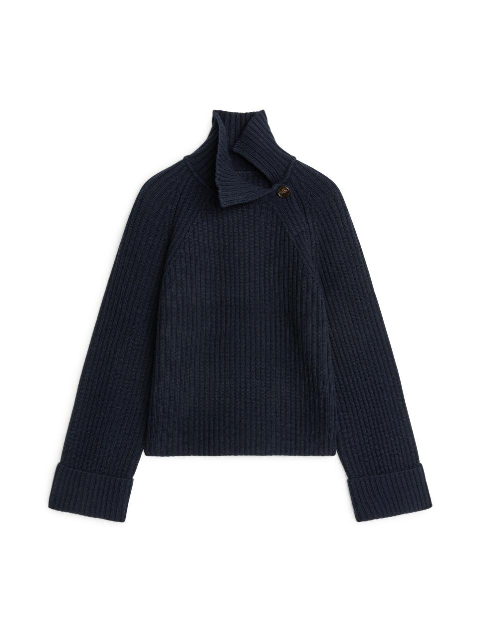 High-Neck Wool-Blend Jumper - Blue