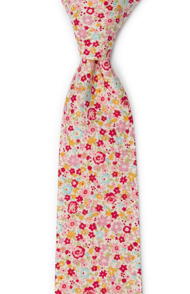 Bomull Slips, Rød, rosa, gule & lys turkis blomster, Rosa, Blomster