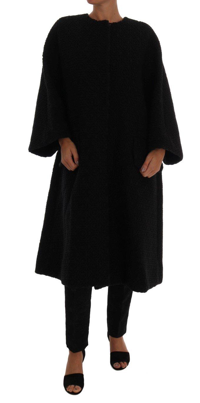 Dolce & Gabbana Women's Floral Wool Coat Black JKT1062 - IT40|S