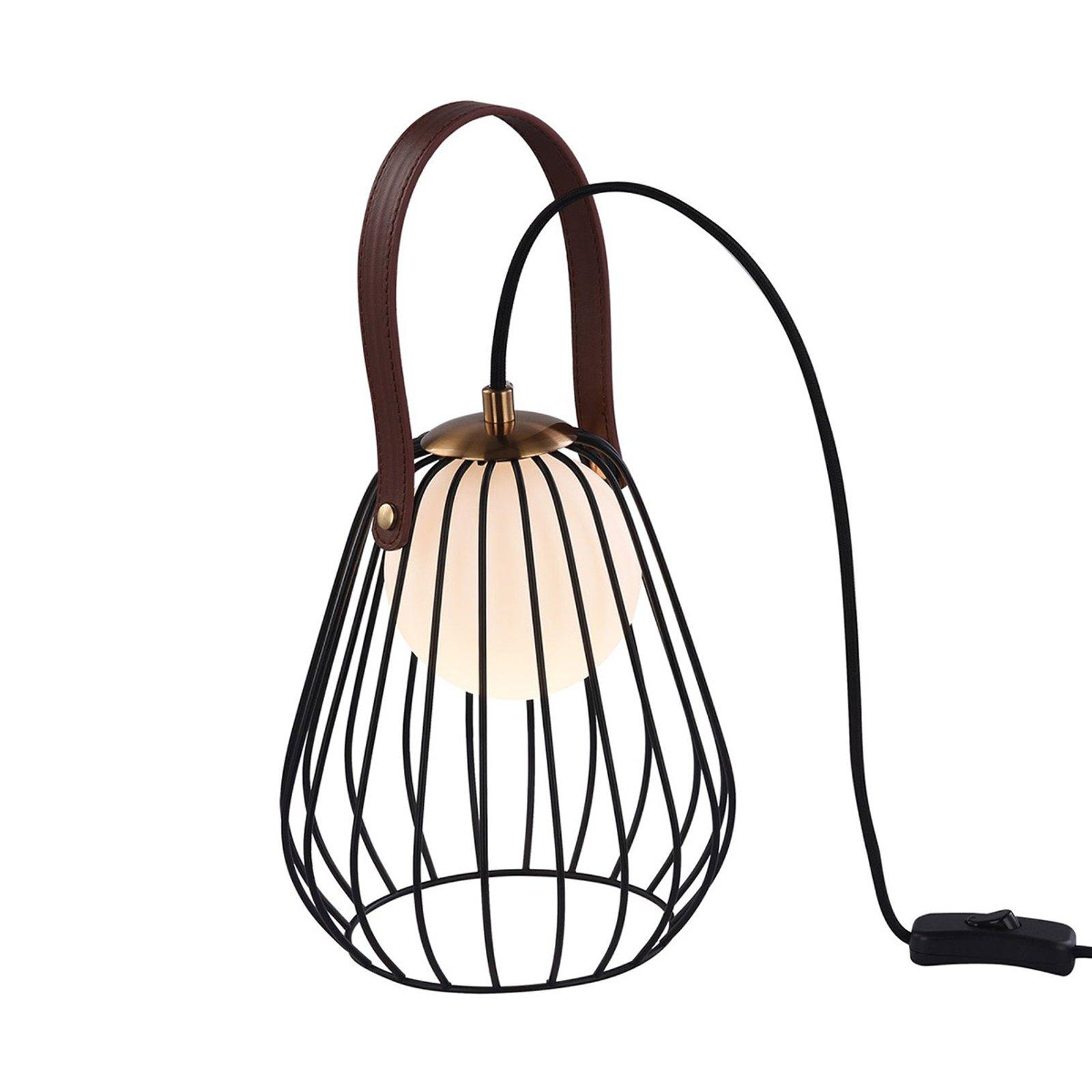 Indiana bordlampe med svart bur-skjerm