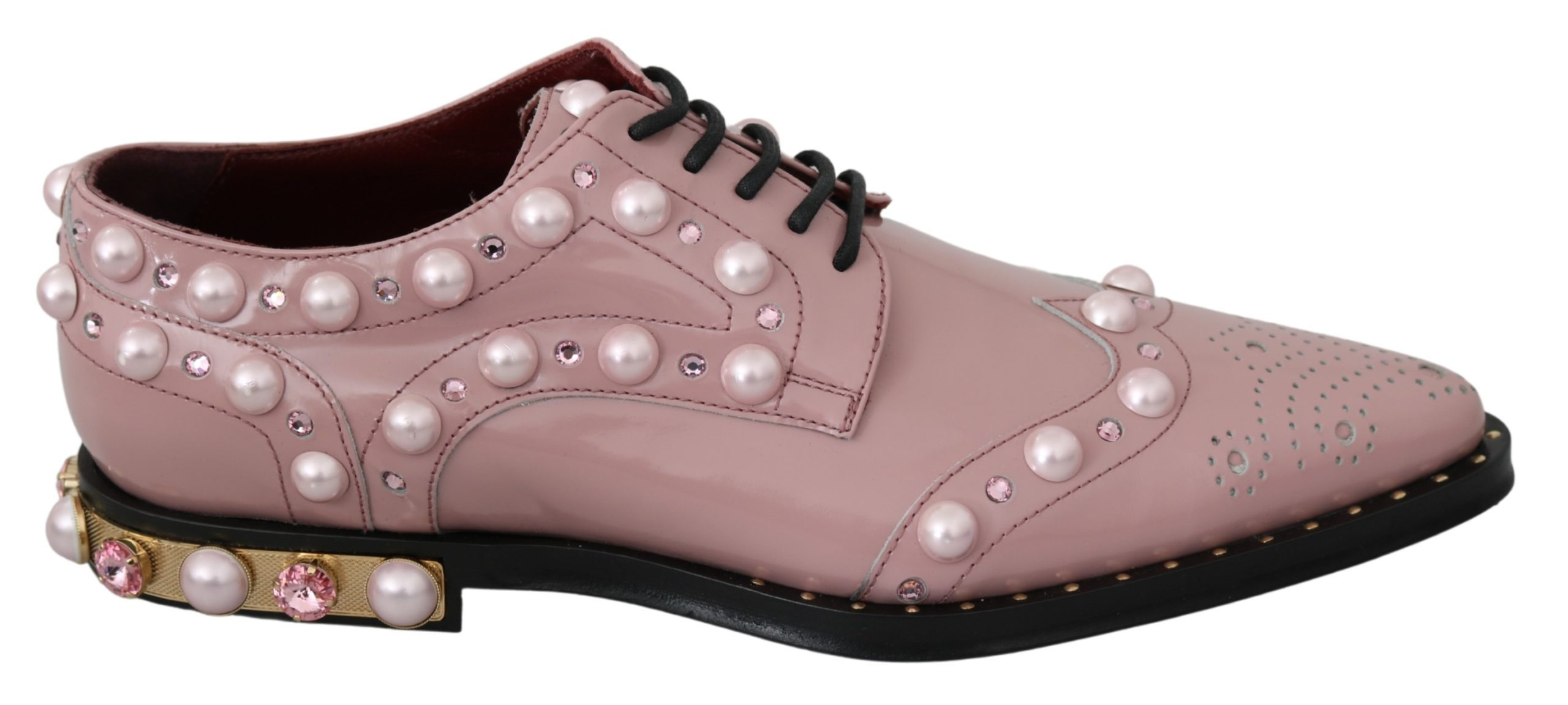 Dolce & Gabbana Women's Leather Crystal Pearls Studs Formal Shoe Pink LA6912 - 39