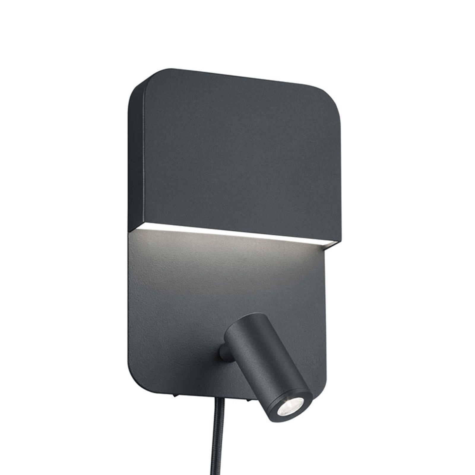 Matt svart LED-vegglampe Luigi med 2 brytere