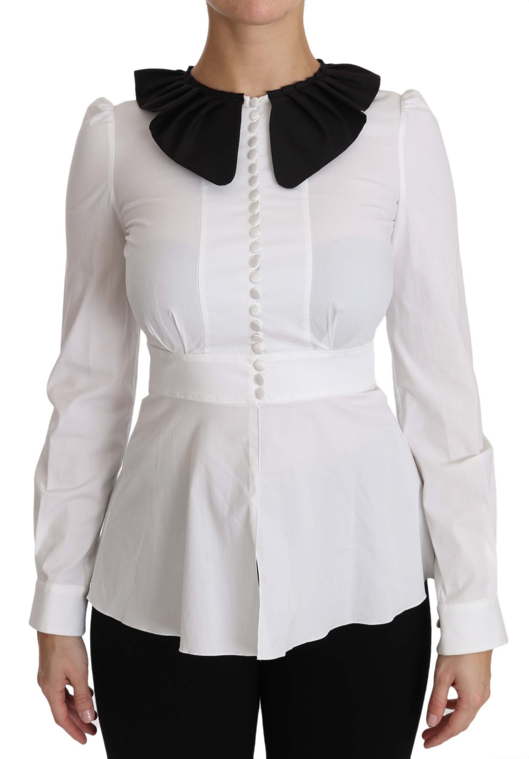 Dolce & Gabbana Women's Collar Longsleeve Tops White TSH2949 - IT36 | XS
