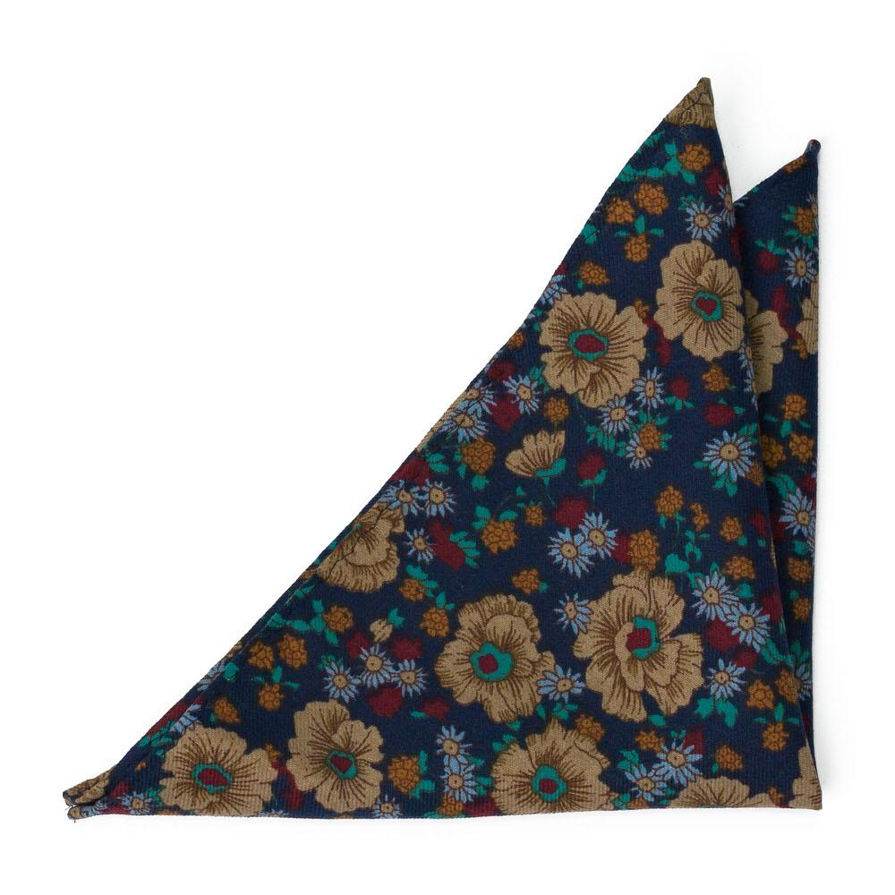 Bomull Lommetørkler, Multifarget, tett blomstermønster på marinblått