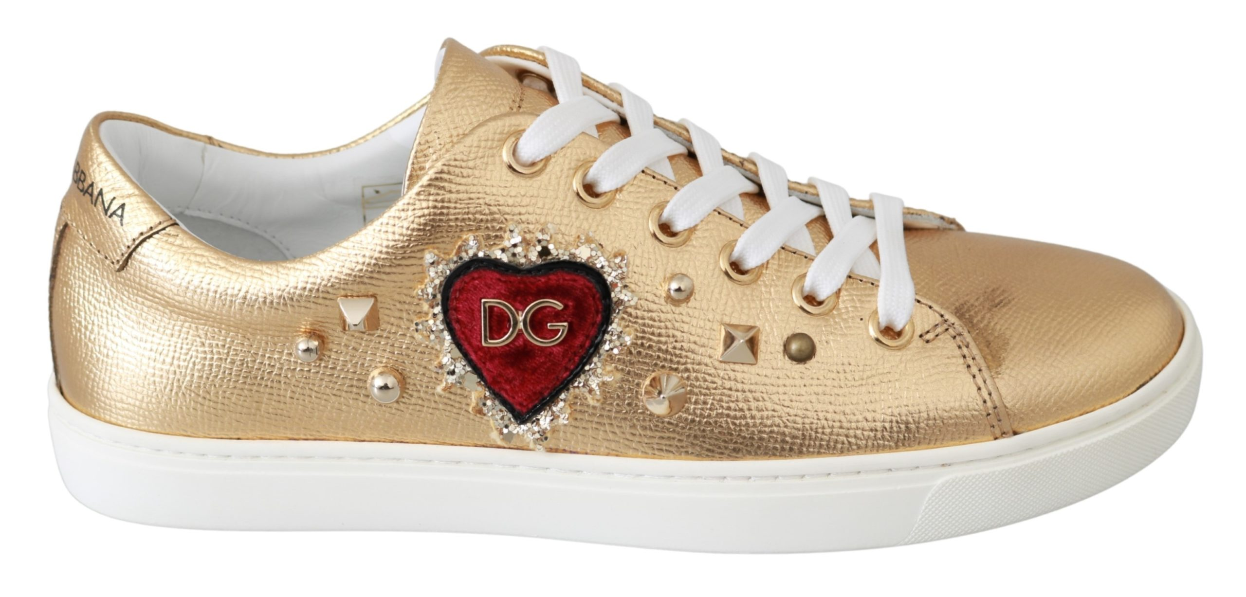 Dolce & Gabbana Women's Leather Heart Trainer Gold LA6479 - EU35.5/US5