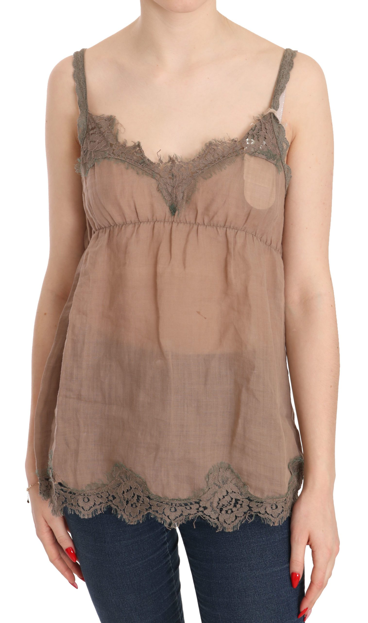 PINK MEMORIES Women's Lace Spaghetti Strap Plunging Top Brown TSH3835 - IT42|M