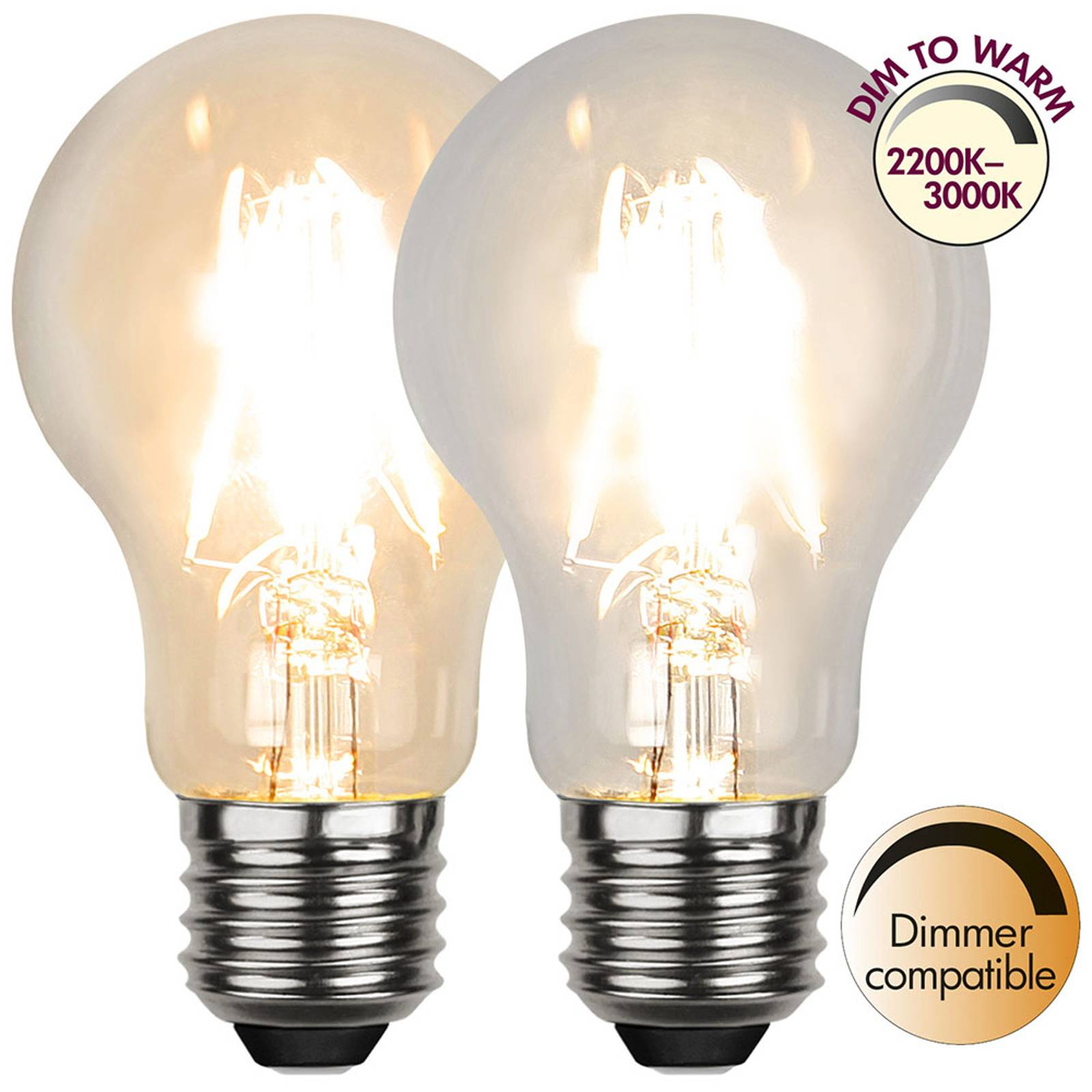 LED-lamppu E27 A60 4W 3000K, dim to warm