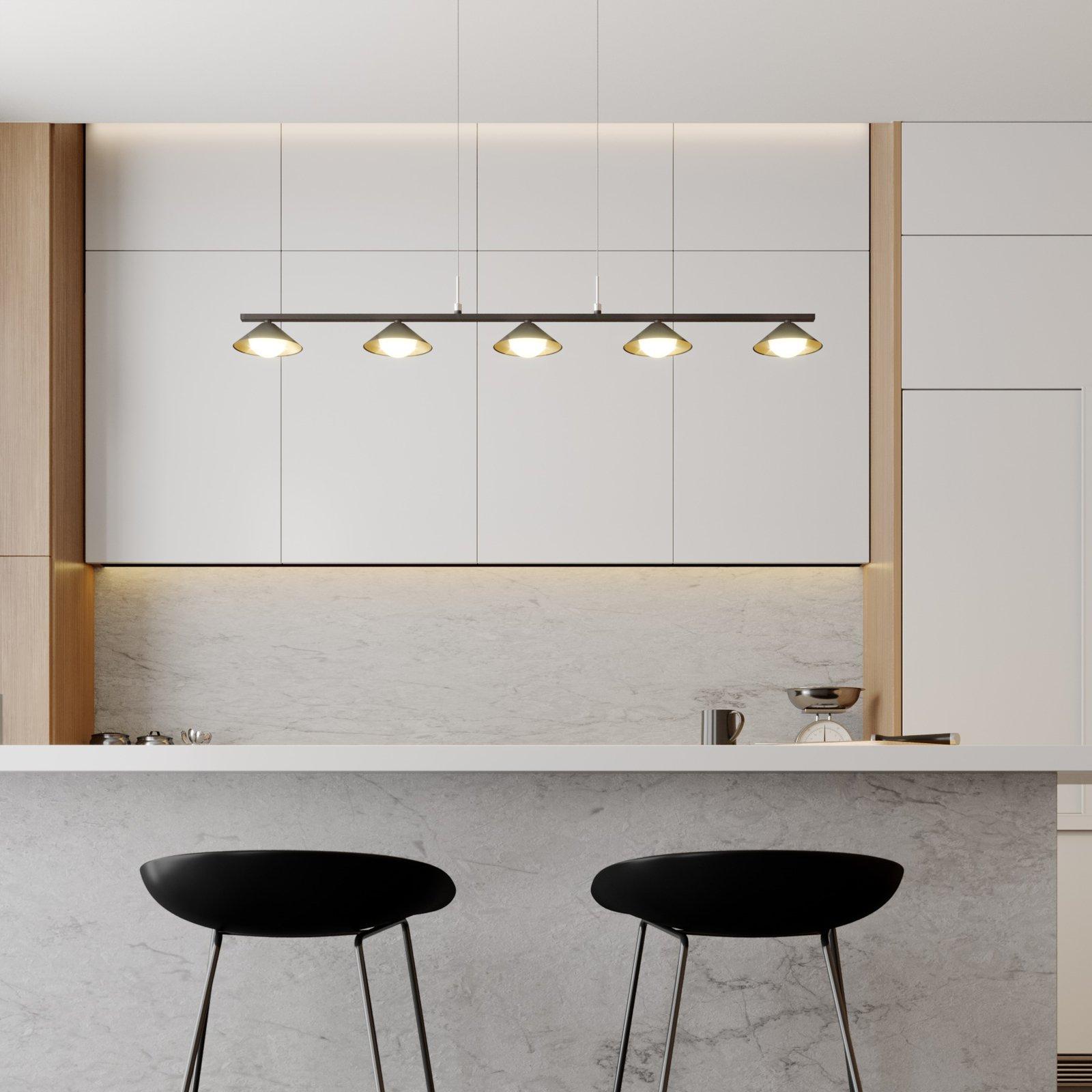 Lucande Kianos LED-hengelampe, svart, 5 lyskilder