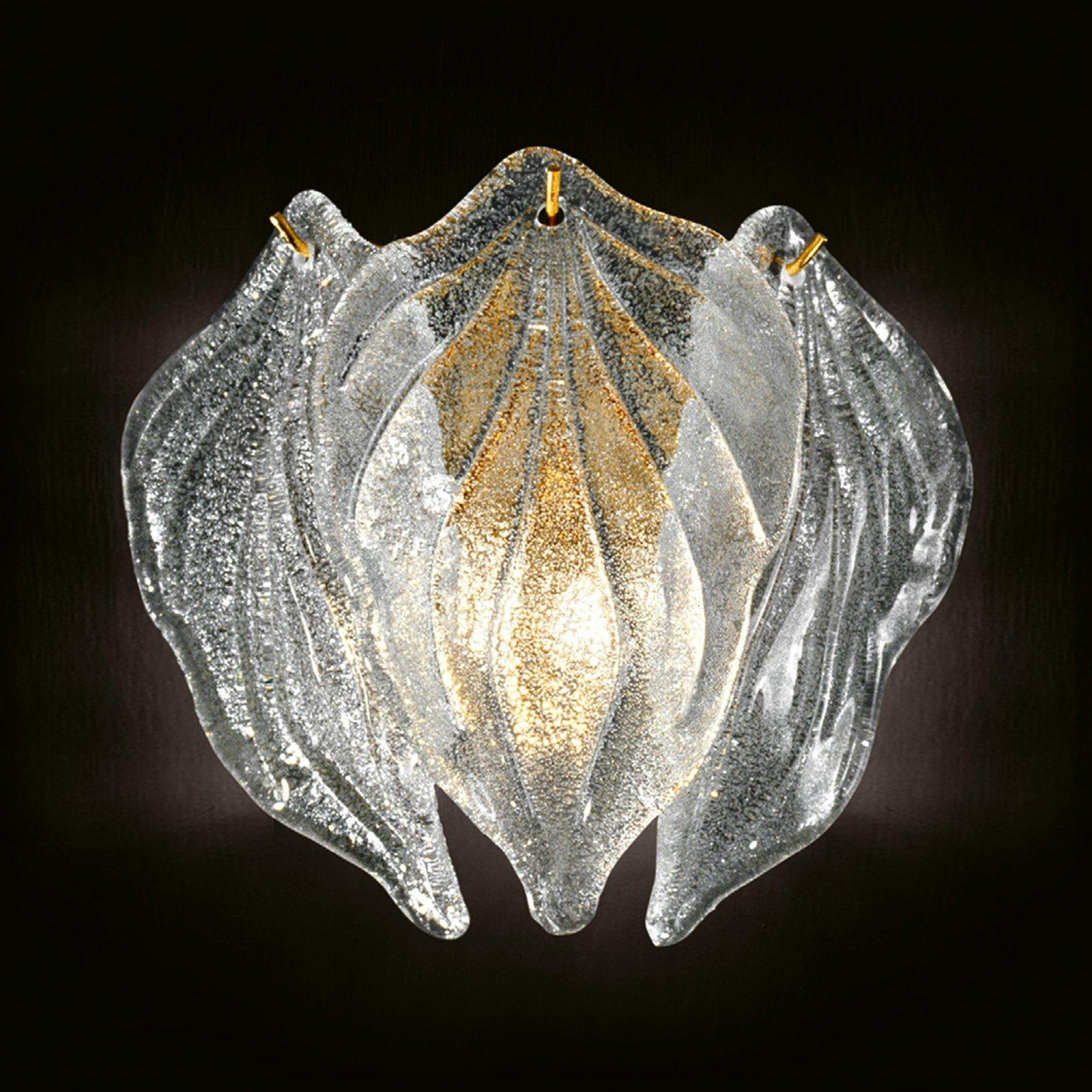 Glass-vegglampe Foglie av Murano-glass