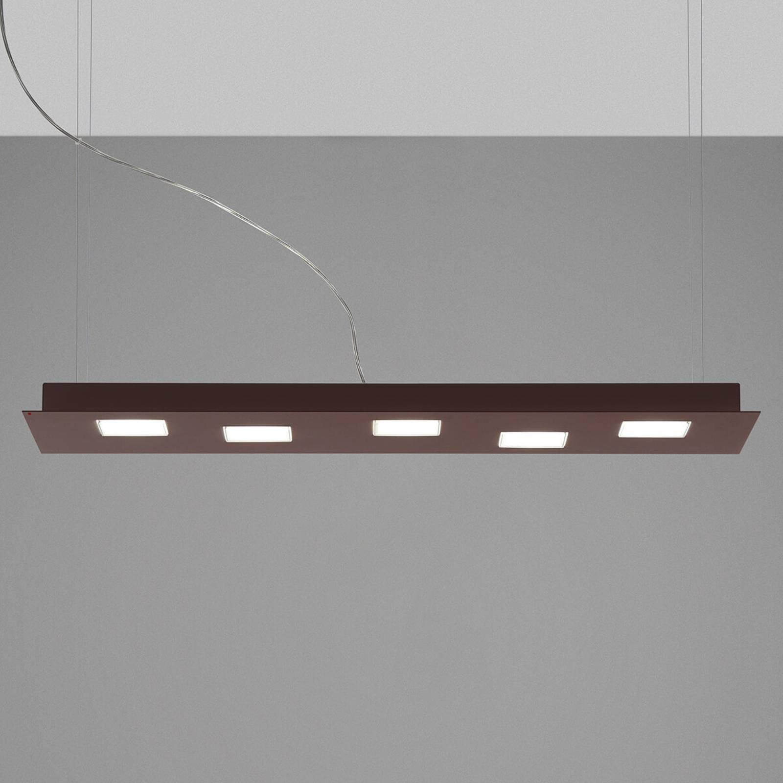 Fabbian Quarter - LED-hengelampe 5 lyskilder, brun
