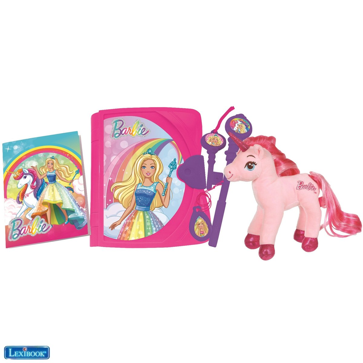 Lexibook - Barbie Electronic Secret Diary with a Unicorn plush and accessories (SD15BBY)
