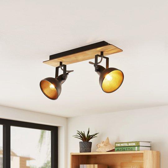 Lindby Aylis -kattovalo, musta, puu, 2-lamppuinen