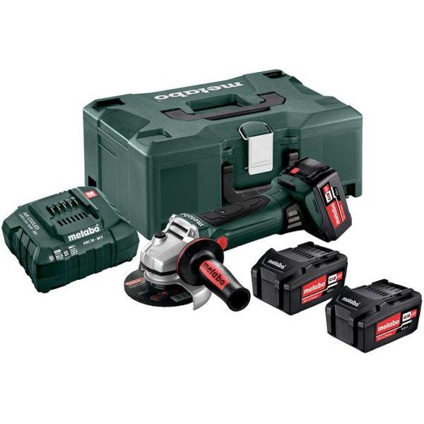Metabo W 18 LTX 125 Quick Set Vinkelsliper med koffert, 4,0Ah batterier og lader