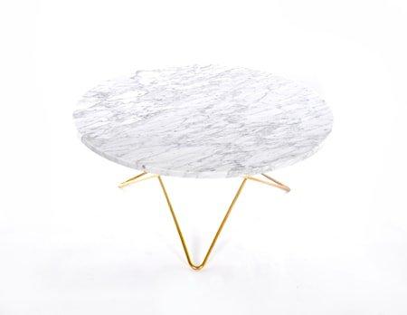 O Table Spisebord Messing/Matt Hvit Marmor Ø100