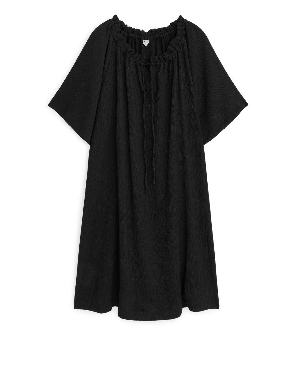 Textured Jersey Dress - Black