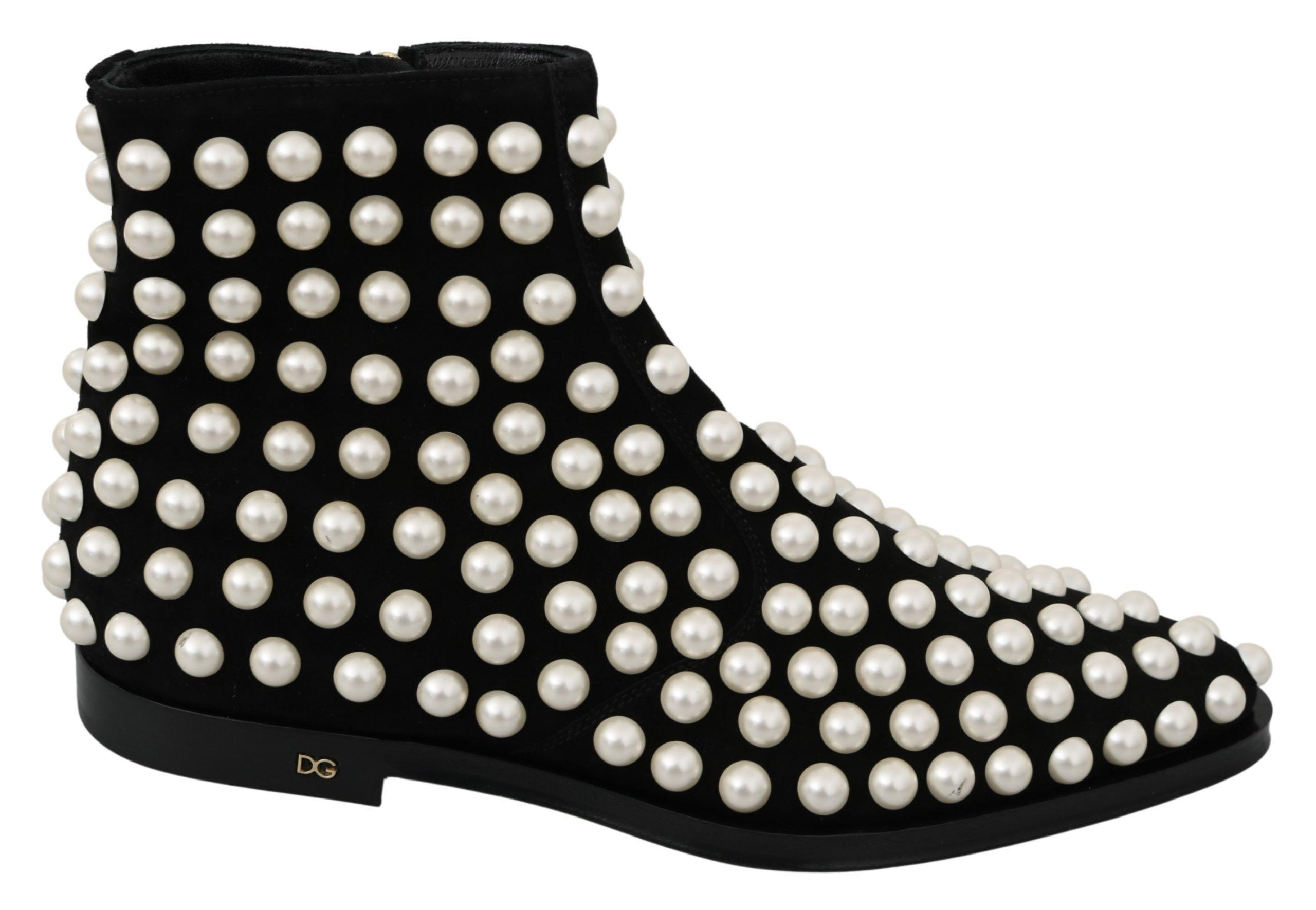 Black Suede Pearl Studs Boots Shoes - EU39/US8.5