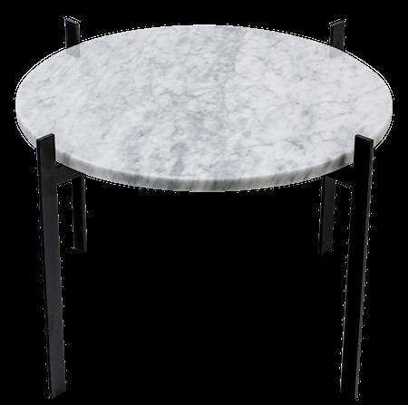 Single Deck Sidebord Matt Hvit Marmor med Svart Ramme