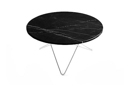 O Table Svart Marmor med Rostfri Stålram Ø80