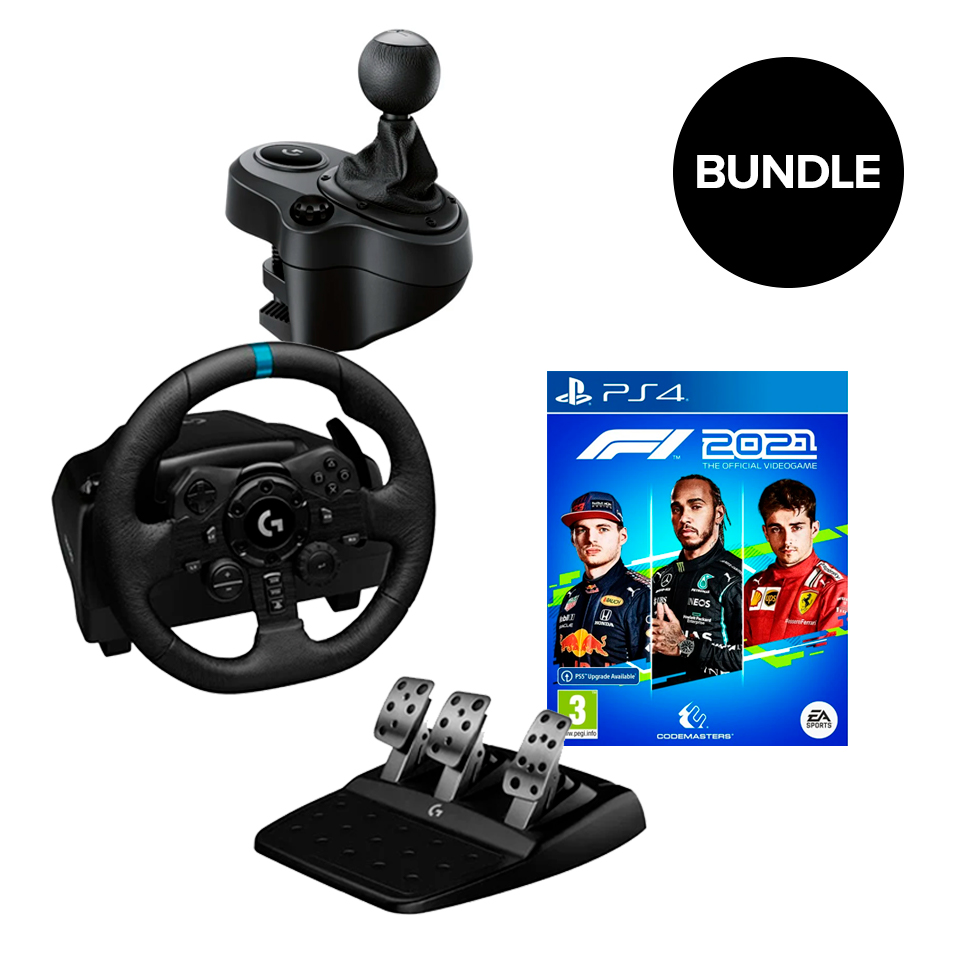 Logitech - G923 Racing Wheel and Pedals + Gearshifter + F1 2021 (ps4) - Bundle