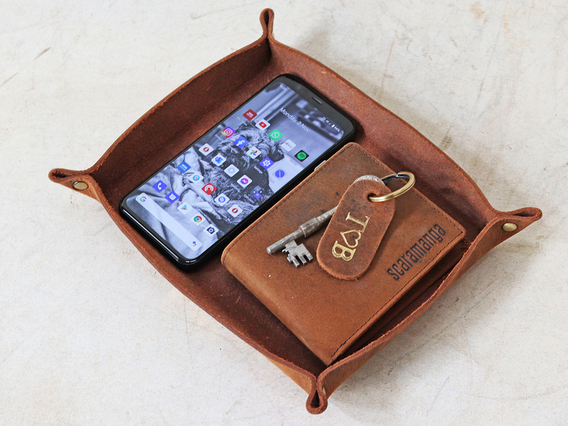 Leather Valet Tray - Large Brown