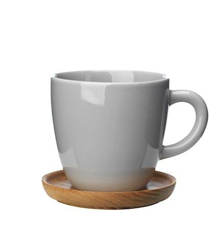Höganäs Keramikk Kaffekrus + trefat 33 cl grå blank