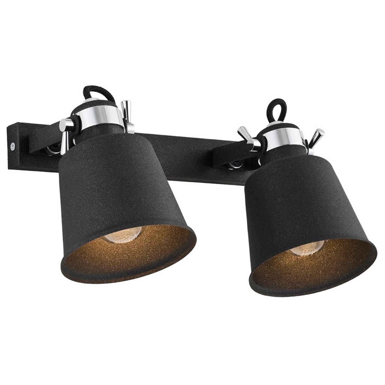 Seinäkohdevalaisin Kerava, 2-lamppuinen, musta