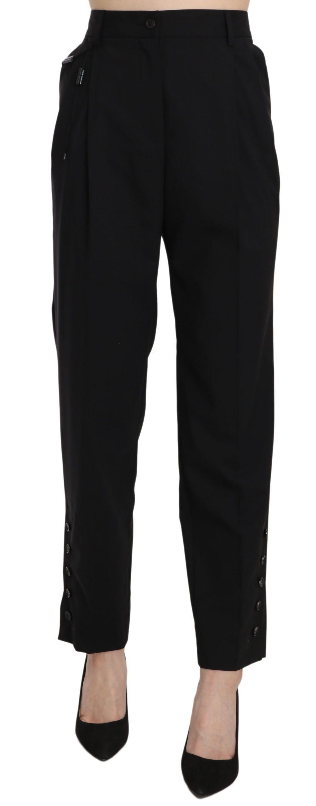 Dolce & Gabbana Women's Wool Stretch High Waist Pleated Trouser Black PAN61334 - IT42|M