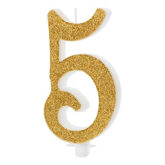 Födelsedagsljus Siffra Guld - 5 år