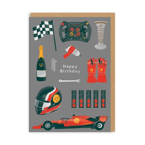 Happy Birthday F1 Greeting Card
