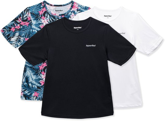 Hyperfied Wave T-Shirt 3-pack, Black/White/Tropical Flower 120