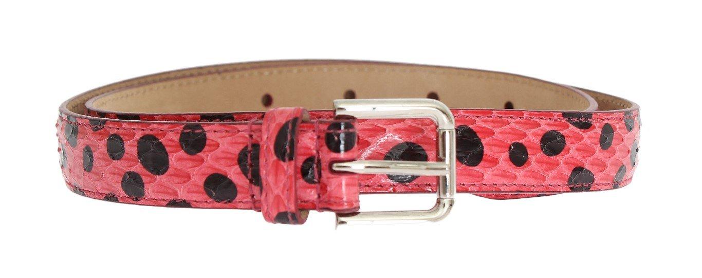 Dolce & Gabbana Women's Polka Snakeskin Silver Buckle Belt Multicolor BEL10325 - 65 cm / 26 Inches