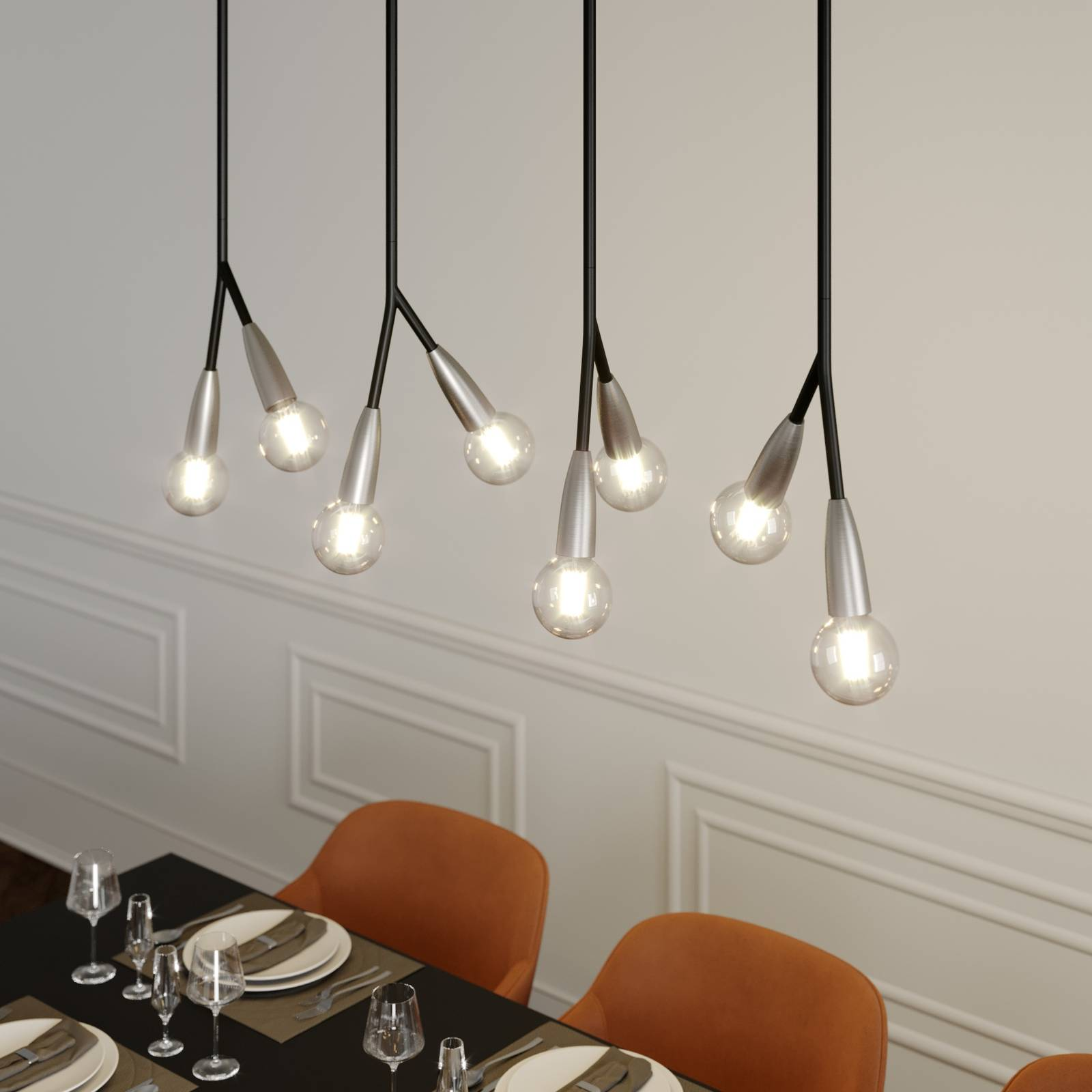 Lucande Carlea -riippuvalo, 8-lamp. musta-nikkeli