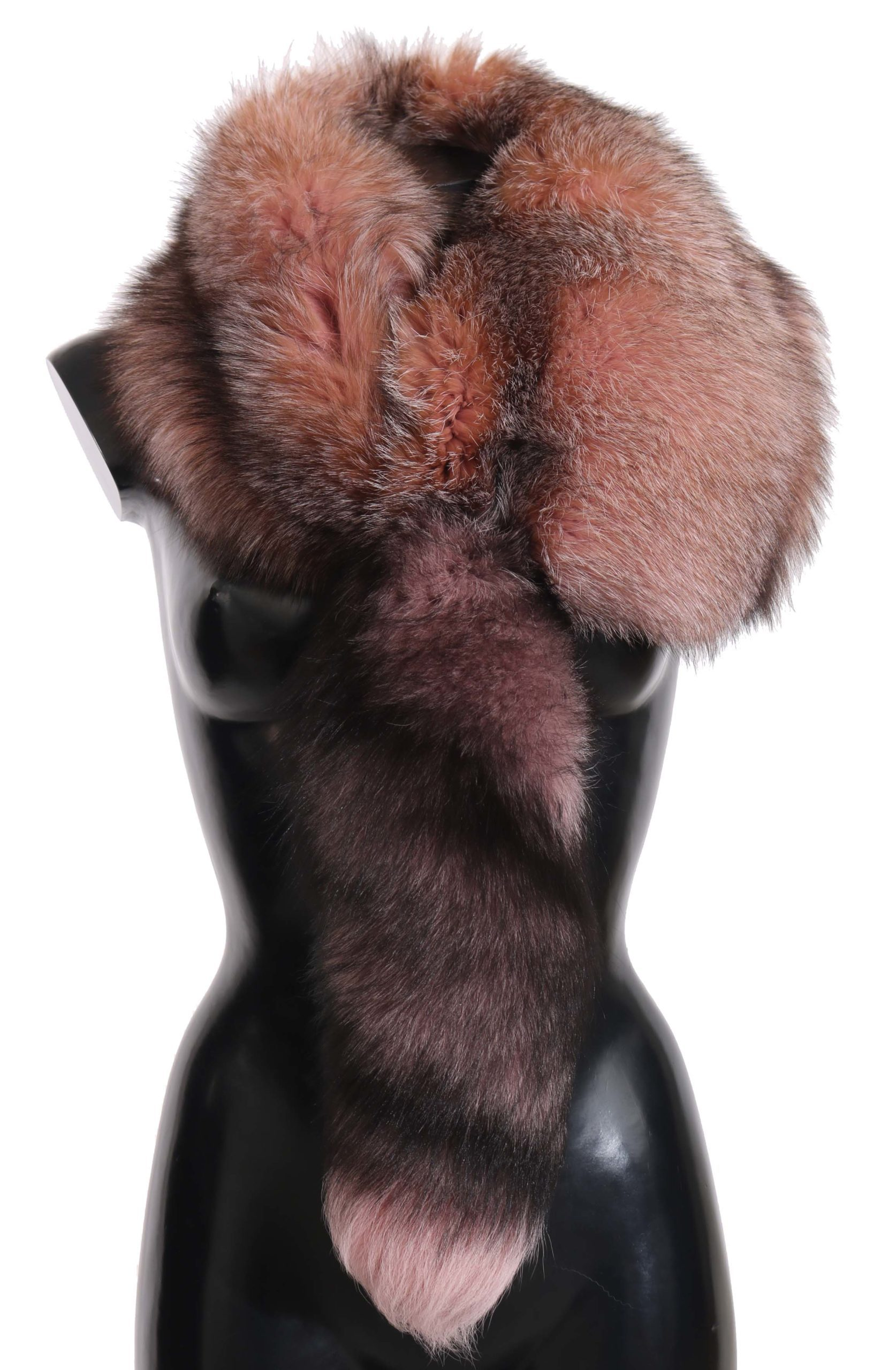 Dolce & Gabbana Women's Fox Tail Fur Neck Wrap Collar Scarf Pink MS2304