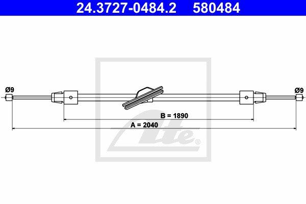 Käsijarruvaijeri ATE 24.3727-0484.2