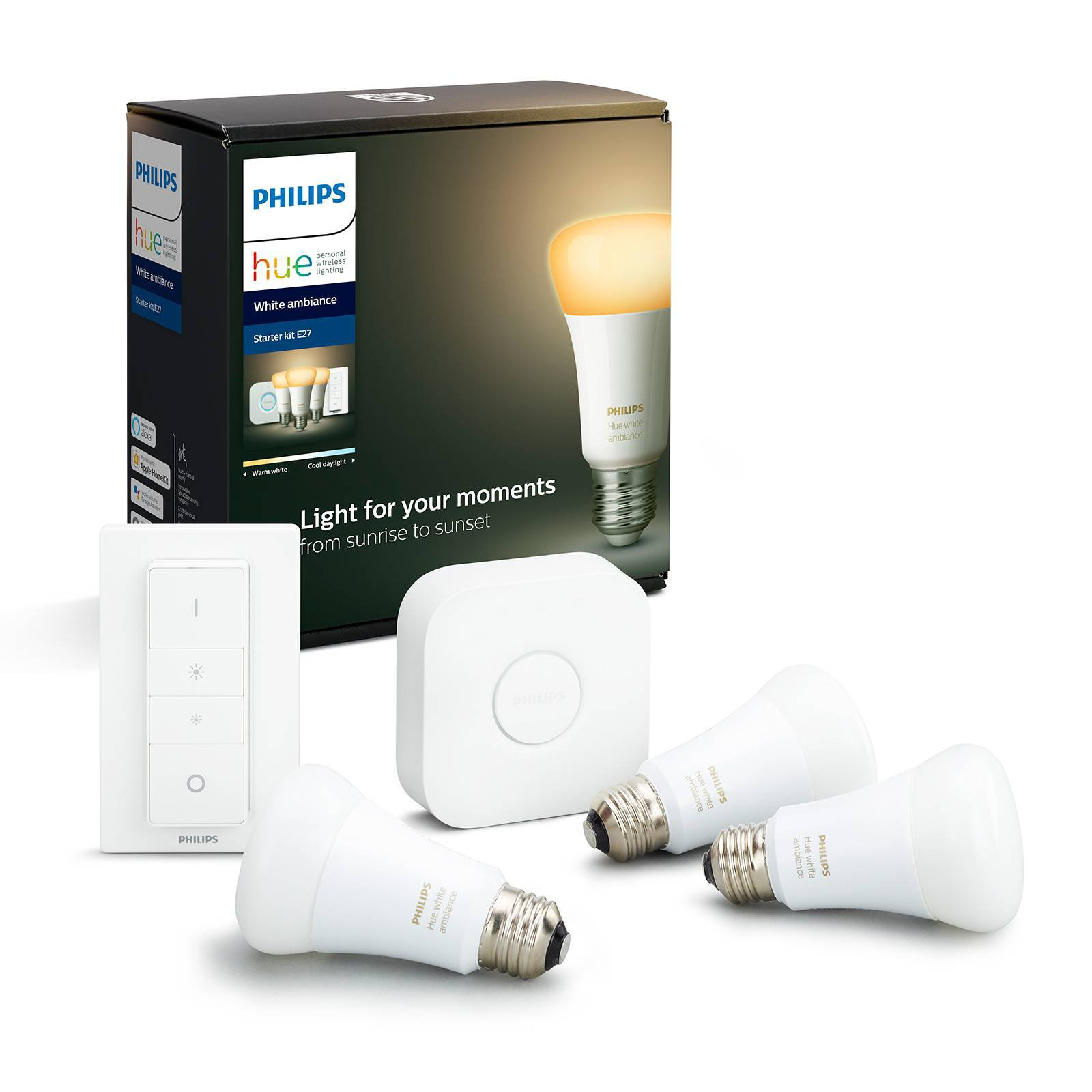 Philips Hue White Ambiance i E27 3-pkn. startpakke