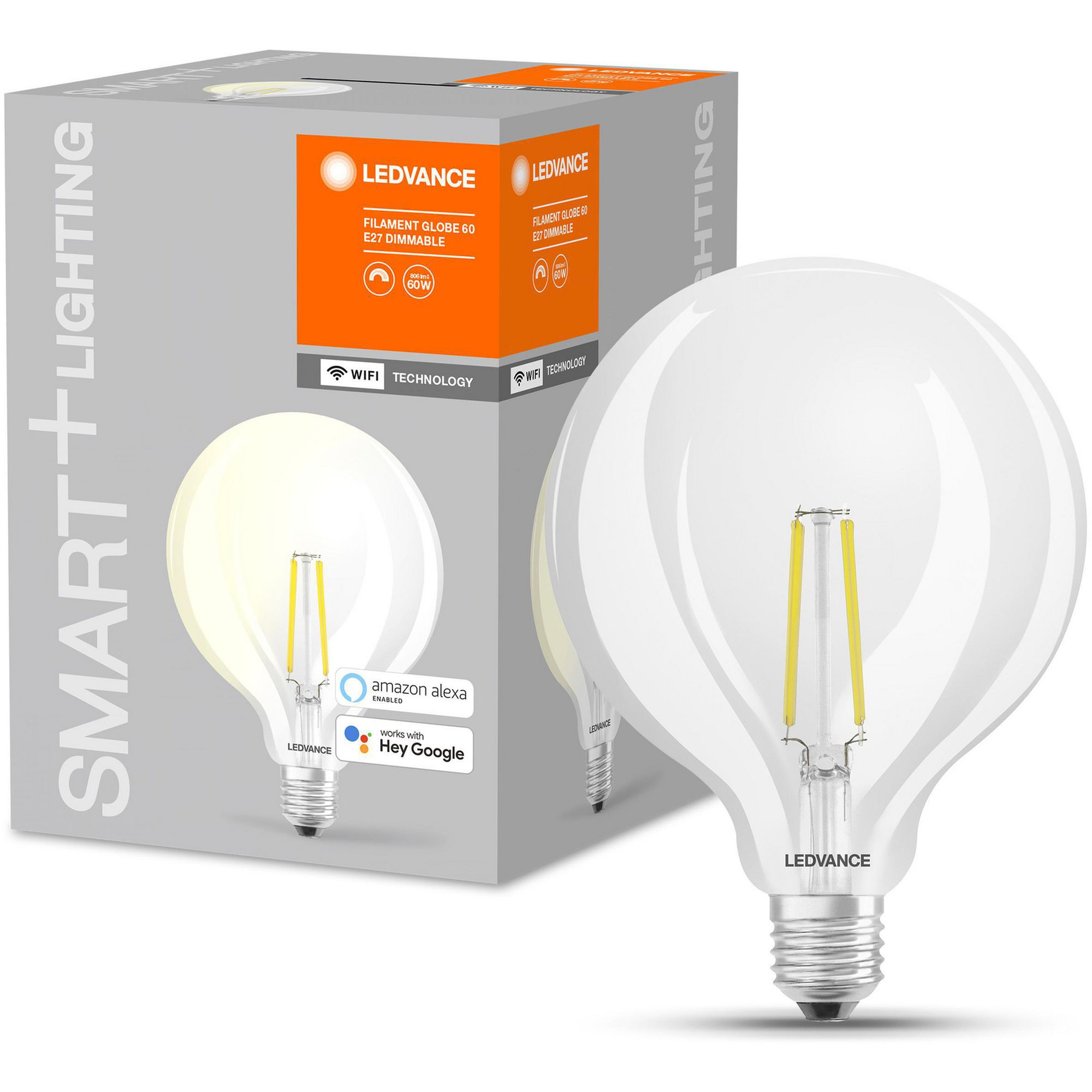 LEDVANCE - SMART+ Globe 60W/827 Clear Filament E27 WiFi