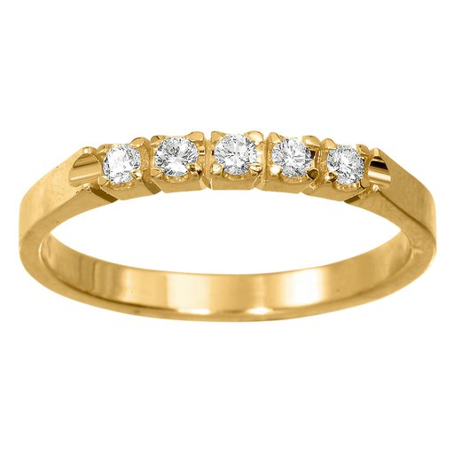 Diamantring i 18K guld, 57