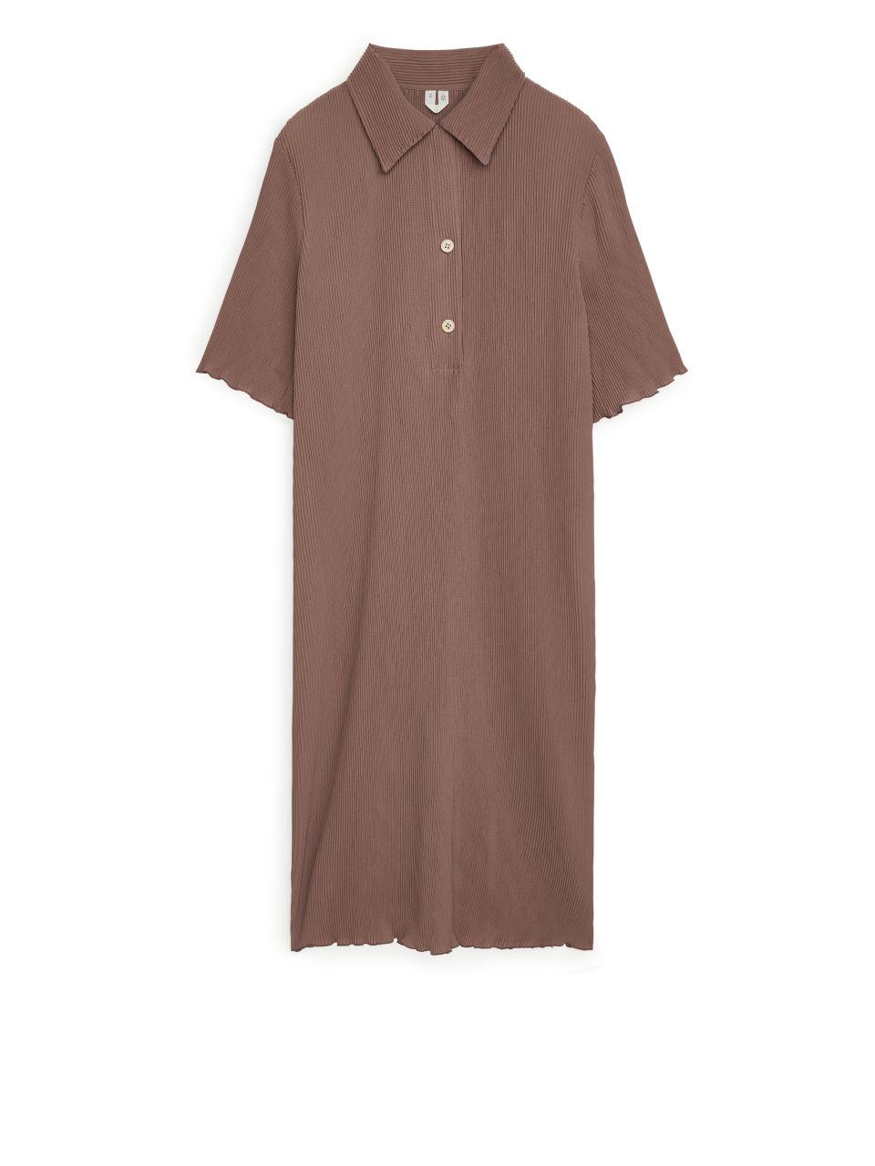 Pleated Short Sleeve Dress - Beige
