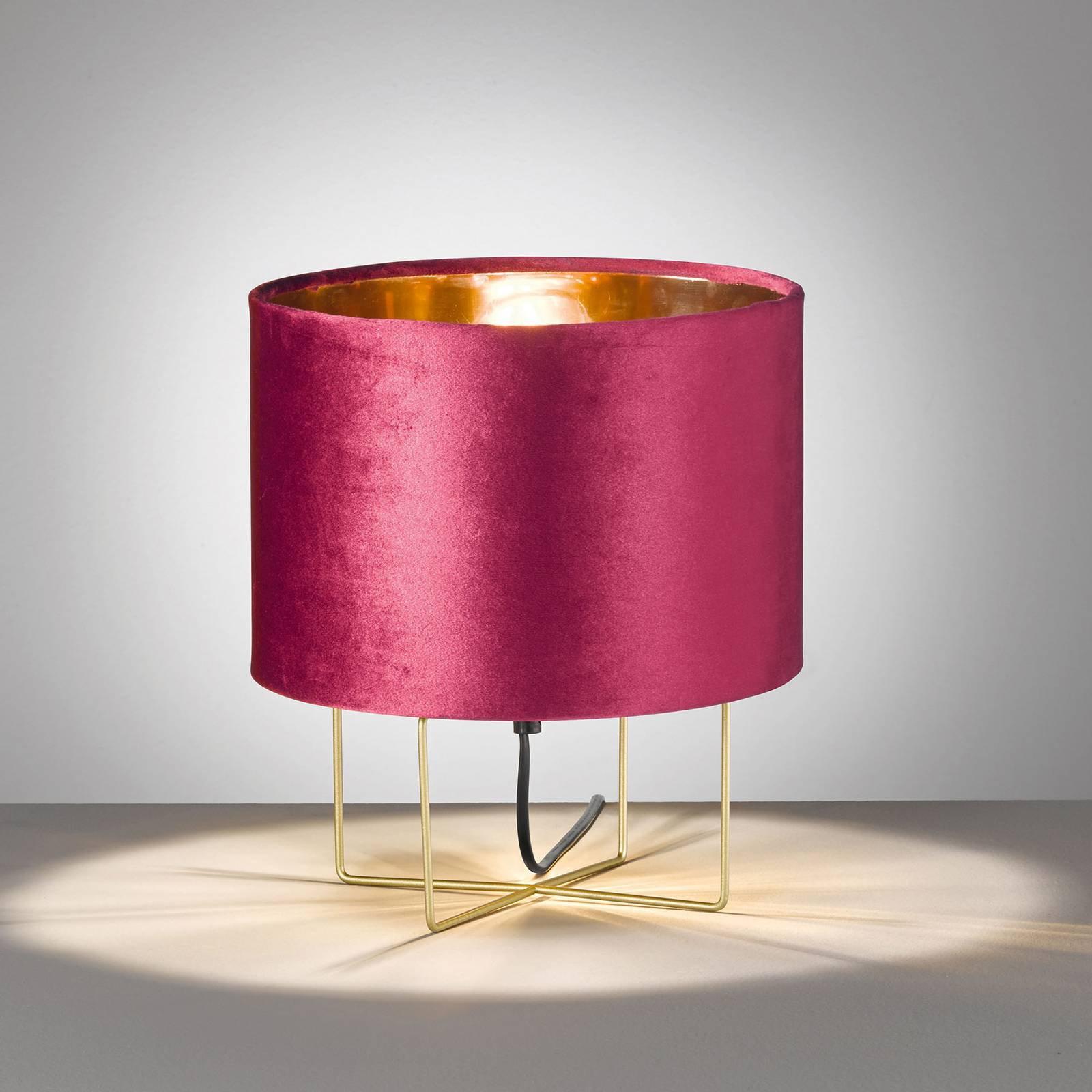 Bordlampe Aura, fløyelsskjerm, høyde 32 cm, rød