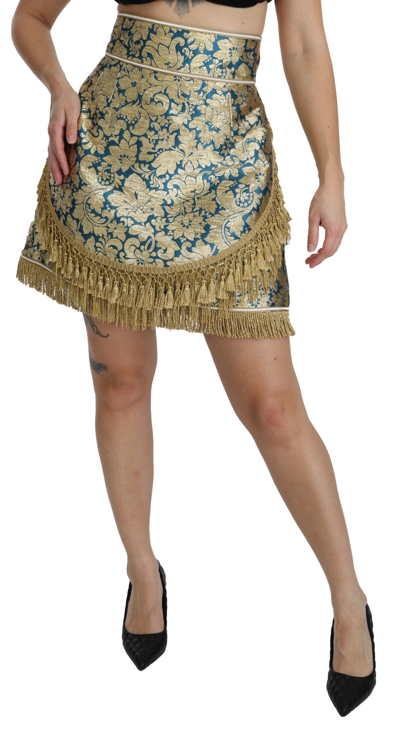 Dolce & Gabbana Women's Baroque Jacquard High Waist Mini Skirt Multicolor SKI1362 - IT40|S