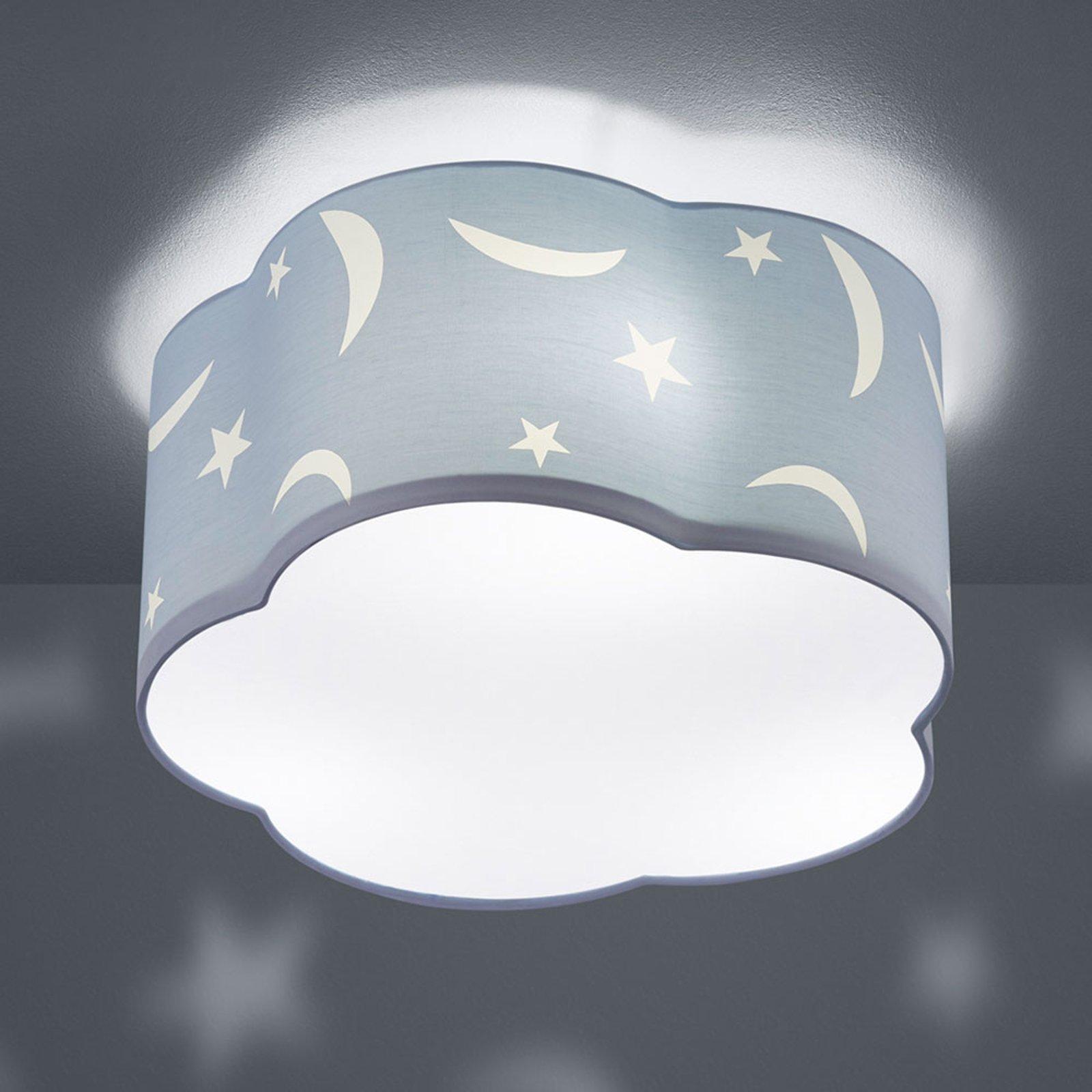 Taklampe Moony til barnerommet pastellblå