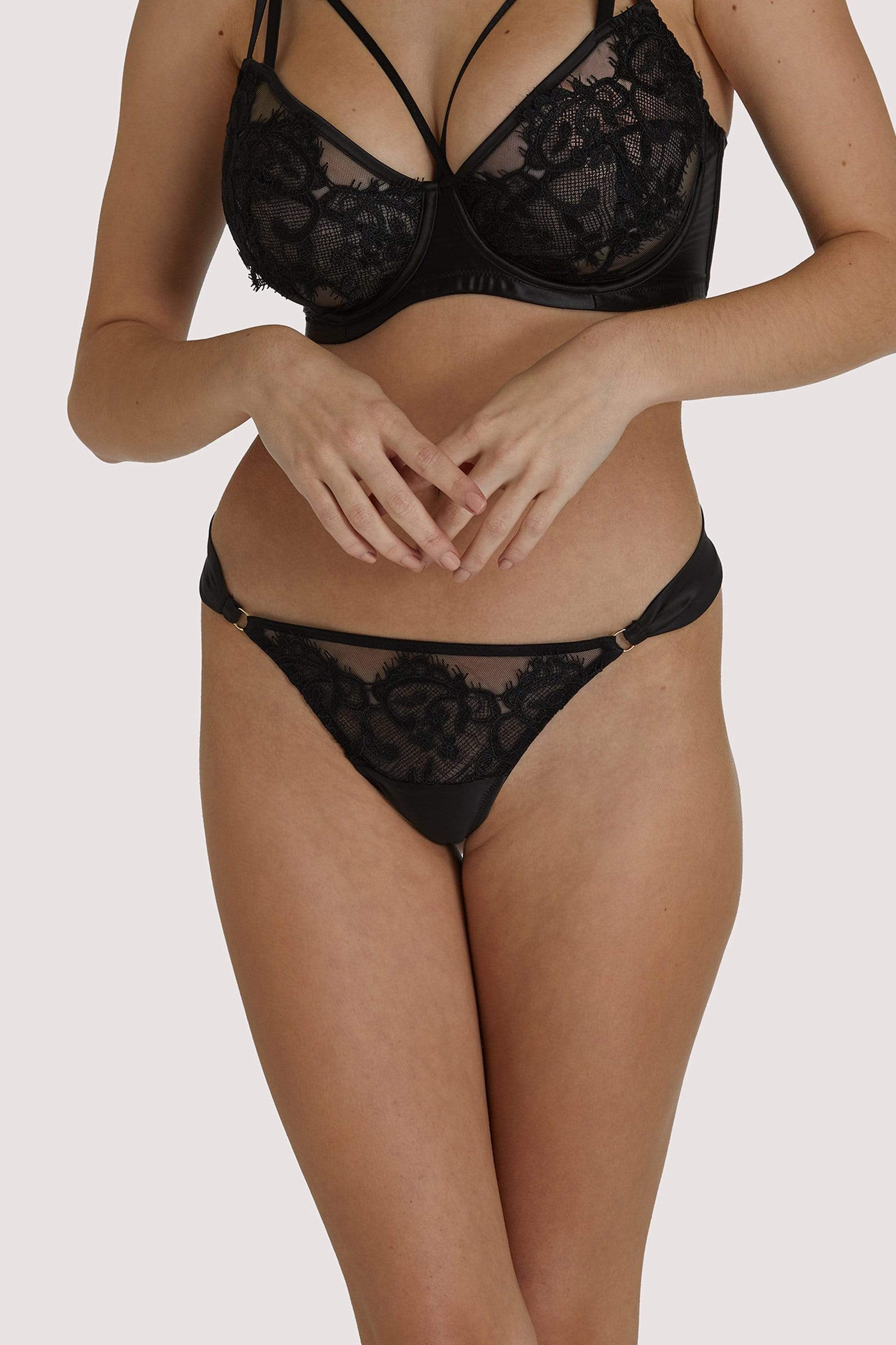 Playful Promises Anneliese Black Lace Thong UK 8 / US 4