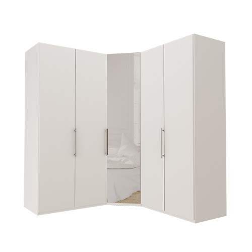 Garderobe Atlanta - Hvit 100 + hjørne + 100, 236 cm, Hvit