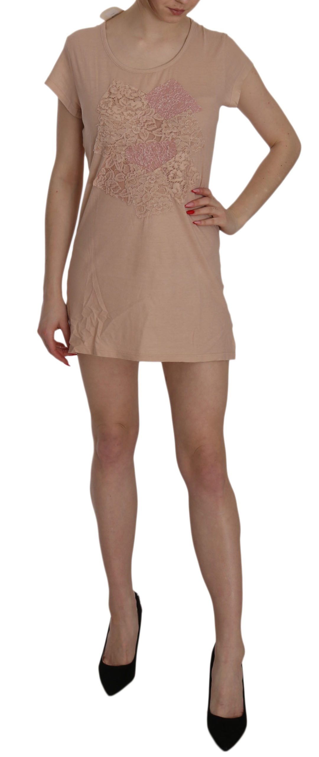 PINK MEMORIES Women's Lace SS Shift Dress Pink TSH3472 - IT40|S