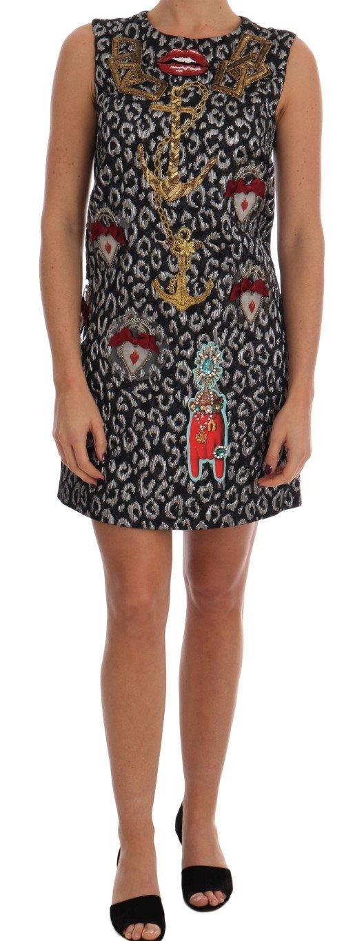 Dolce & Gabbana Women's Leo Jaquard Crystal Embellished Dress Multicolor DR1365 - IT44|L