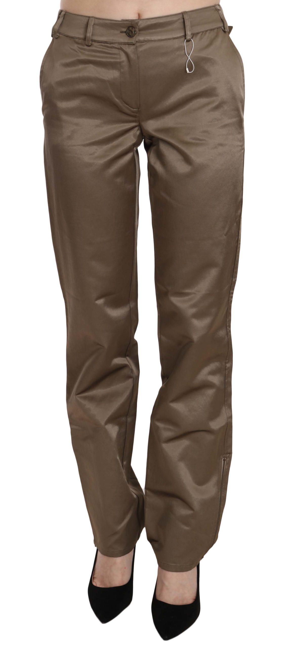 Roberto Cavalli Women's Cotton Mid Waist Straight Trouser Brown PAN70367 - IT40|S