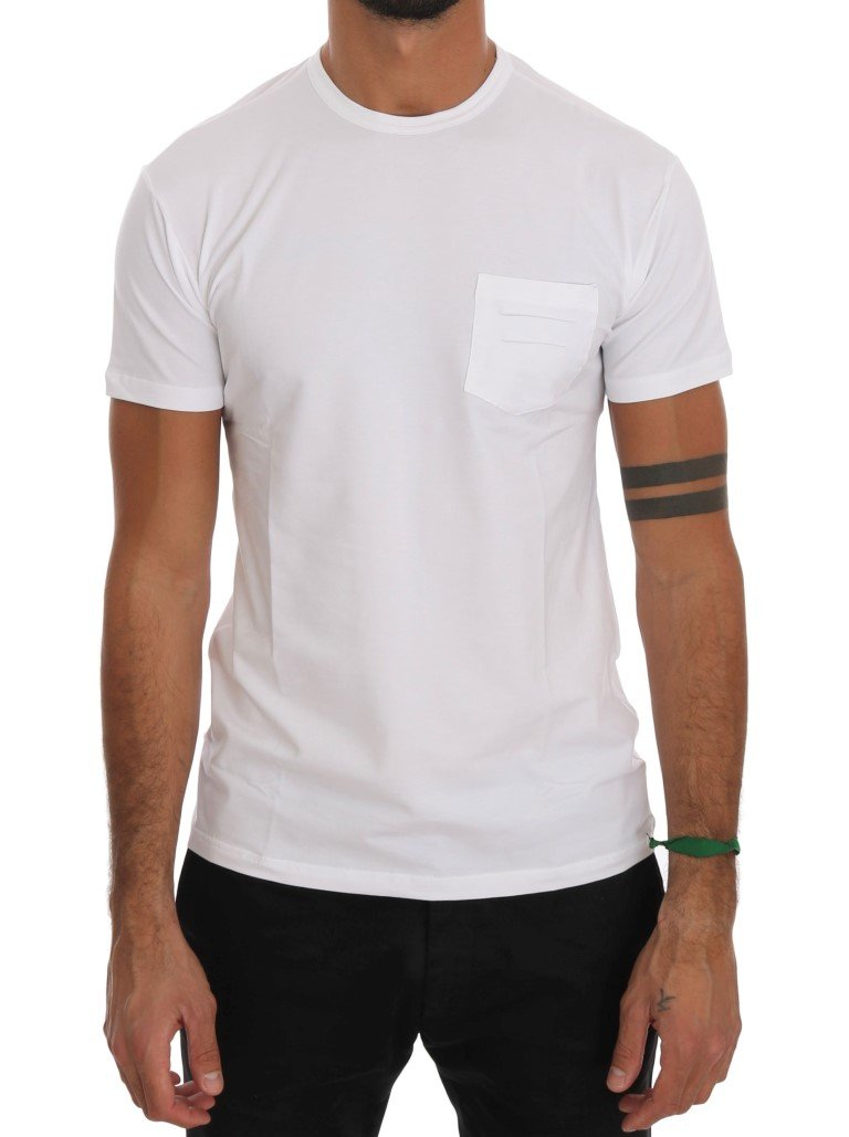 Daniele Alessandrini Men's Cotton Crewneck T-Shirt White TSH1326 - M